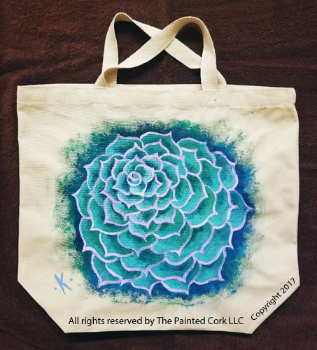 Succulent Flower ~ On canvas tote or 14x18 stretched canvas