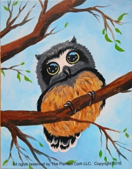 Sacramento Studio 8/30: Baby Owl ~ End of Summer Special ~ $10 OFF ~ Ages 21 and up